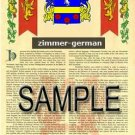ZIMMER - GERMAN - Armorial Name History - Coat of Arms - Family Crest GIFT! 8.5x11
