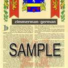 ZIMMERMAN - GERMAN - Armorial Name History - Coat of Arms - Family Crest GIFT! 8.5x11