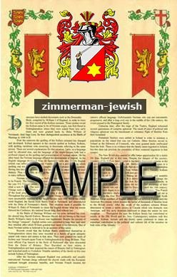 ZIMMERMAN - JEWISH - Armorial Name History - Coat of Arms - Family Crest GIFT! 8.5x11