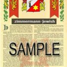 ZIMMERMANN - JEWISH - Armorial Name History - Coat of Arms - Family Crest GIFT! 8.5x11