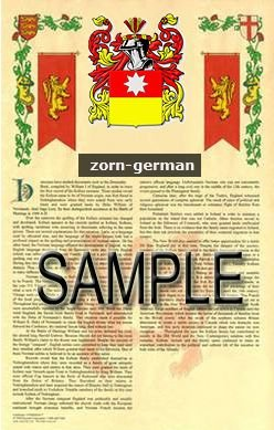 ZORN - GERMAN - Armorial Name History - Coat of Arms - Family Crest GIFT! 8.5x11