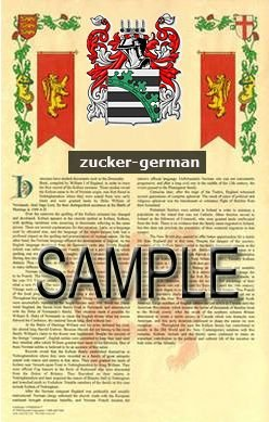 ZUCKER - GERMAN - Armorial Name History - Coat of Arms - Family Crest GIFT! 8.5x11