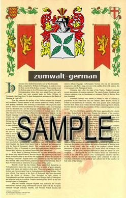 ZUMWALT - GERMAN - Armorial Name History - Coat of Arms - Family Crest GIFT! 8.5x11