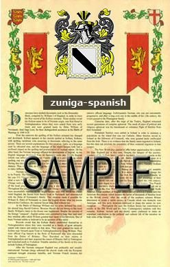ZUNIGA - SPANISH - Armorial Name History - Coat of Arms - Family Crest GIFT! 8.5x11