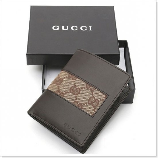 GUCCI Brown Monogram Canvas/Leather Men's Wallet
