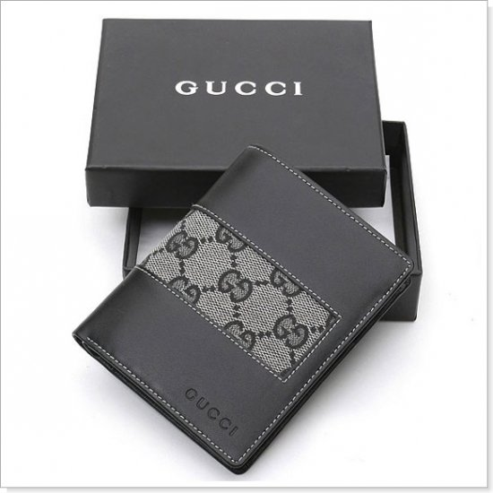 GUCCI Gray Monogram Canvas/Leather Men's Wallet
