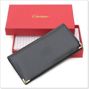 Must de Cartier Black CheckBook Leather Wallet