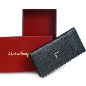 Salvatore Ferragamo F Logo Leather Checkbook Wallet