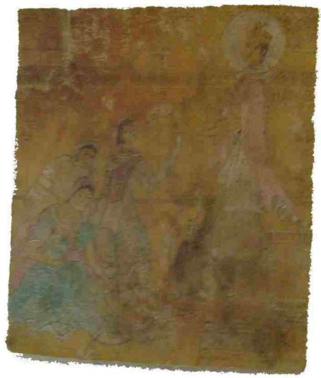 ANTIQUE PAINTING TIBET ART KING WITH MAIDS RARE