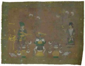 ANTIQUE PAINTING TIBET ART SINGING WORSHIPPERS