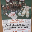 "1989 TEXAS LONGHORNS BASEBALL Poster Schedule / ""GUSBALL"" / KLBJ AM Radio"