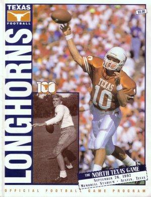 September 26, 1992 TEXAS LONGHORNS vs. NORTH TEXAS Football Game Program
