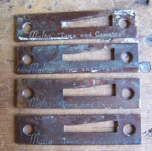 """Four (4) Vintage Old MALTA """"Town & Country"""" Casement Window Hardware Mortised Strike Plates"""