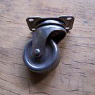 One Vintage Hardware Swivel Caster Steel Wheel 1-3/8 inch diameter, trunk or chest
