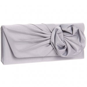 Gray Satin Floral Gathered Clutch