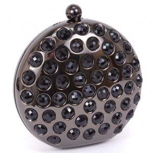 Black Circular Purse with Crystals