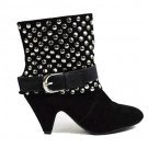 Black Faux Suede Ankle Boots with Silver Studs