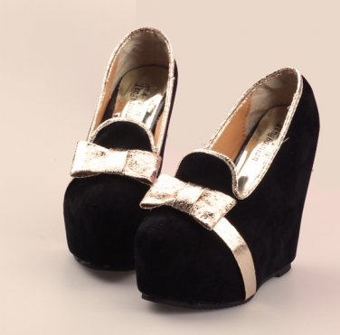 Black Faux Suede Platforms with Gold Bows