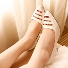 White Front Cut-Out Pointed Pumps