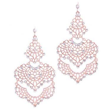 Rose Gold Filigree Crystal Earrings