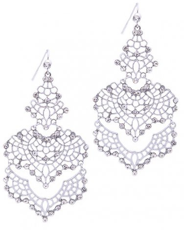 Silver Filigree Earrings with Crystals