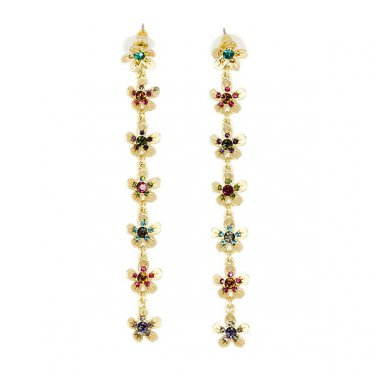 Flower Earrings with Multi Colored Crystals