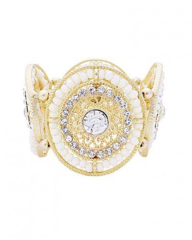 Beige and Gold Crystal Stretch Bracelet