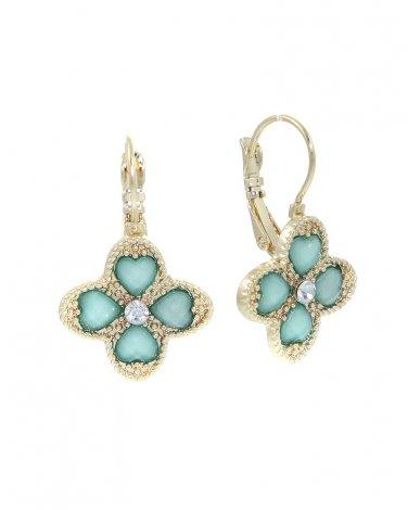 Mint Green Clover Earrings