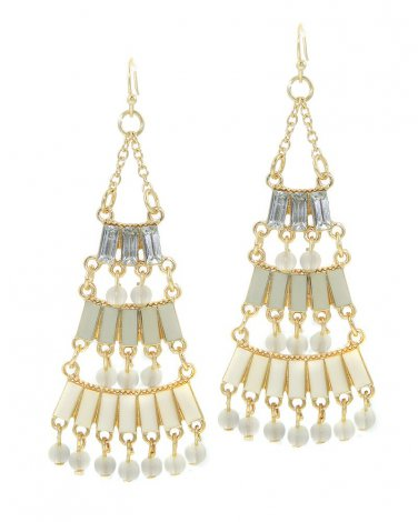 Ivory Epoxy Stone Chandelier Earrings