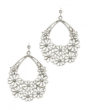 Silver Flower Cut Out Filigree Crystal Earrings
