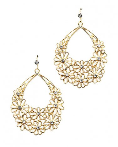 Gold Flower Cut Out Filigree Crystal Earrings