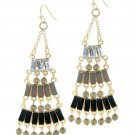 Black Epoxy Stone Chandelier Earrings
