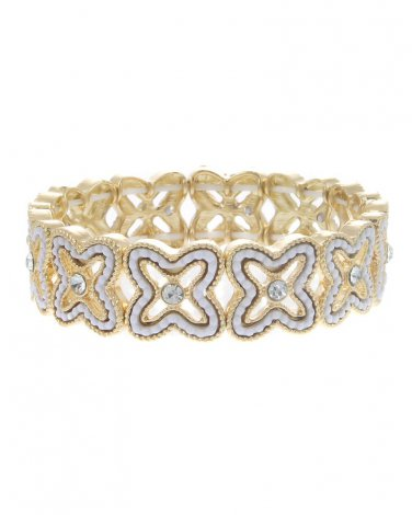 White Gold Plated Clover Crystal Stretch Bracelet