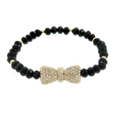 Black Beaded Stretch Bracelet with Crystal Bow