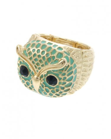 Green & Gold Plated Owl Stretch Ring