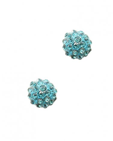 Turquoise Crystal Round Studs