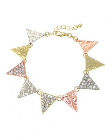 Multi Metal Triangle Crystal Bracelet