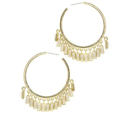 Gold Ivory Hoop Earrings
