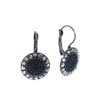 Black Crystal Disc Earrings