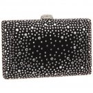 Black Satin Box Clutch with Silver Studs