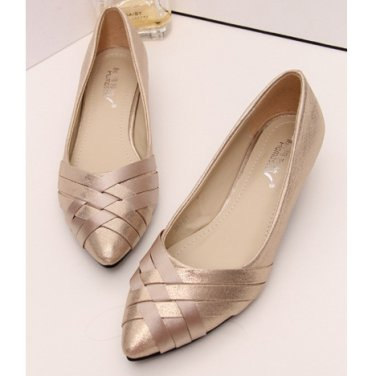 Gia - Pink Front Woven Pointed Heel Flats