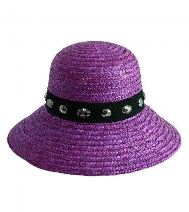 Purple Wheat Straw Downturn Wide Jeweled Brim Hat