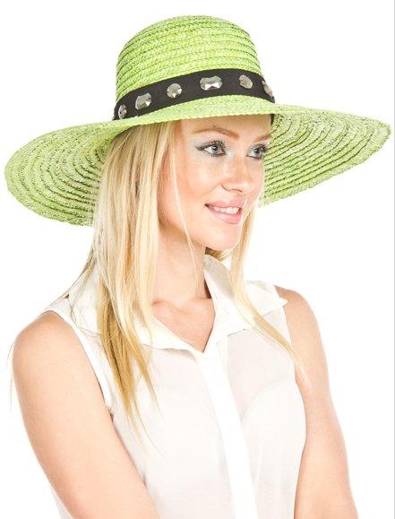Lime Green Wheat Straw Wide Bejeweled Brim Hat