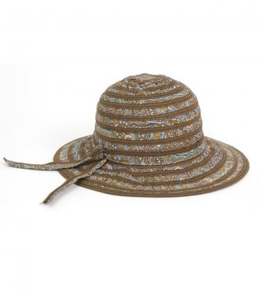 Brown Cotton Canvas Paisley & Straw Sun Hat