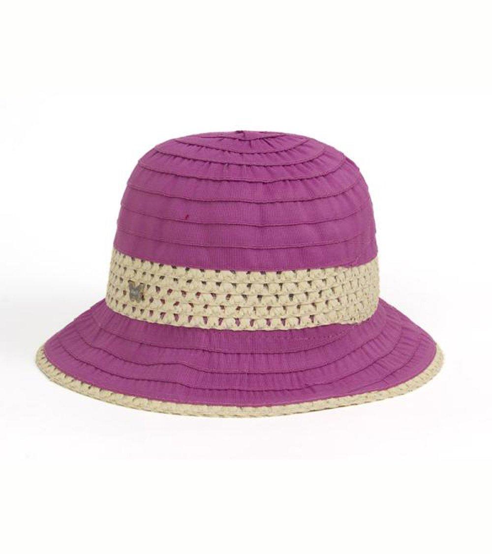 Fuchsia Grosgrain & Ribbon Straw Cloche Hat