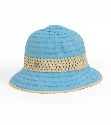 Blue Grosgrain & Ribbon Straw Cloche Hat