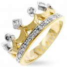Gold & Silver Cubic Zirconia Crown Ring - Size 7