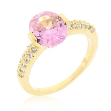 Gold & Pink Cubic Zirconia Engagement Style Ring - Size 6