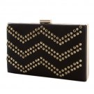 Black & Crystal Chevron Pattern Box Clutch