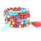 Red & Turquoise Gold Tone Fringe Bracelet